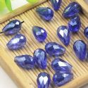 Beads, Selenial Crystal, Crystal, Dark blue AB, Faceted Teardrops, 8mm x 12mm, 1 Bead, [ZZS0010]
